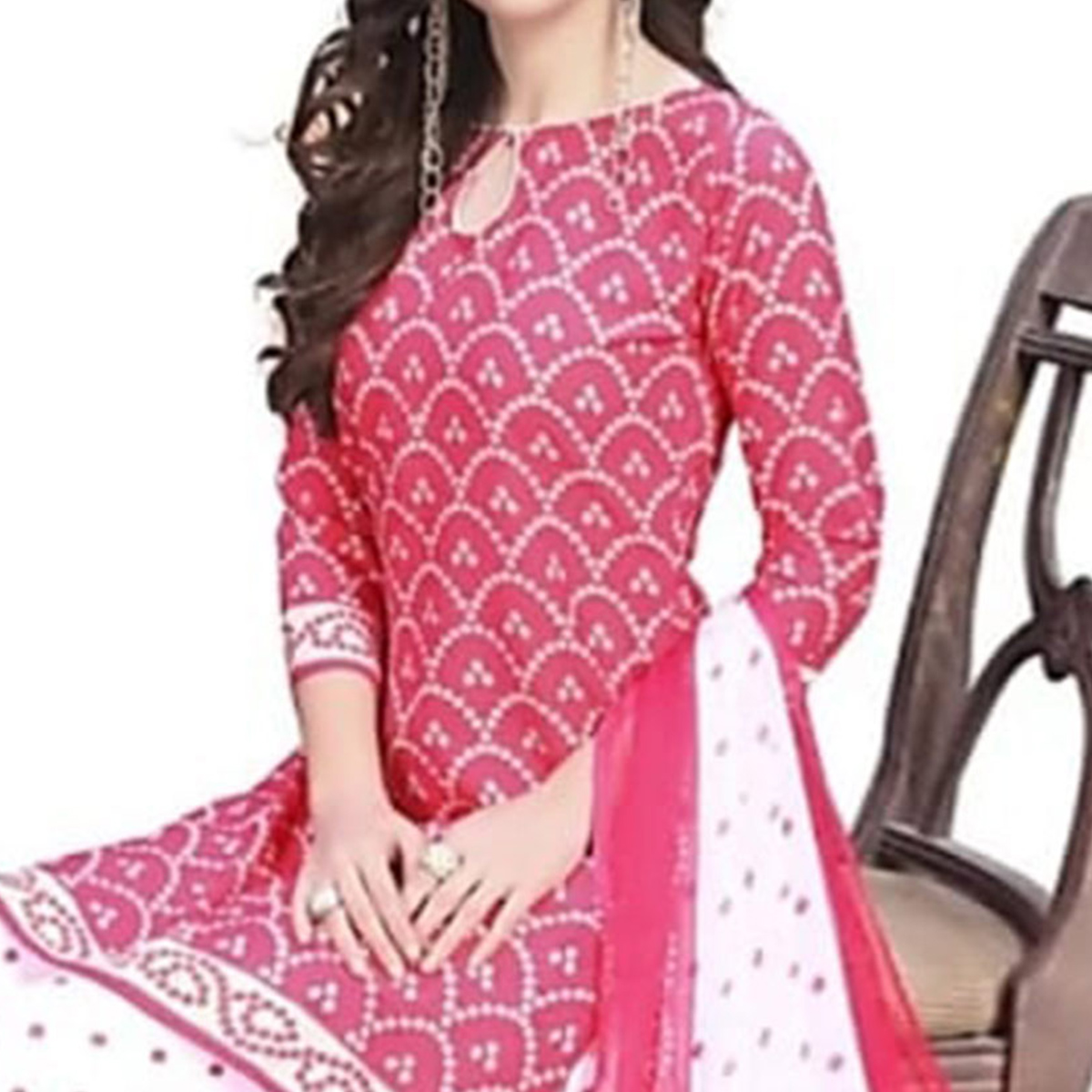 Prominent Pink Colored Casual Printed Crepe Patiala Dress Material