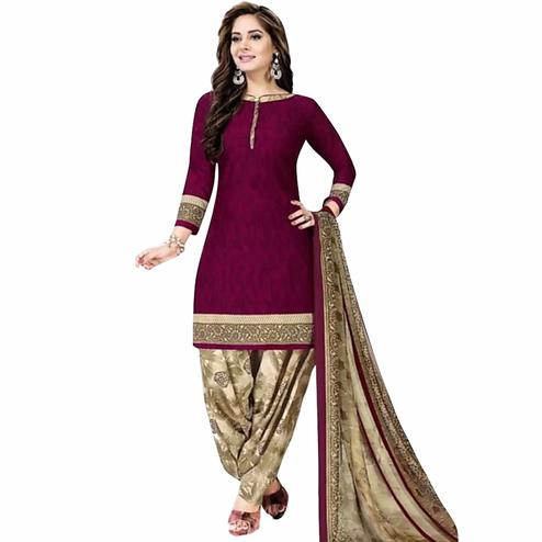 Jazzy Dark Magenta Pink Colored Casual Printed Crepe Patiala Dress Material