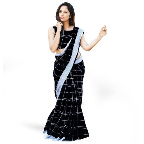 Attractive Black Colored Casual Printed Linen Silk Saree