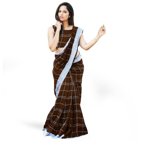 Graceful Brown Colored Casual Printed Linen Silk Saree