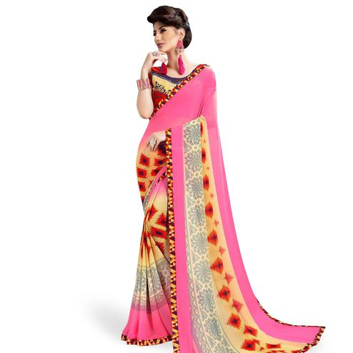 Eye-Catching Pink Colored Casual Printed Georgette Saree