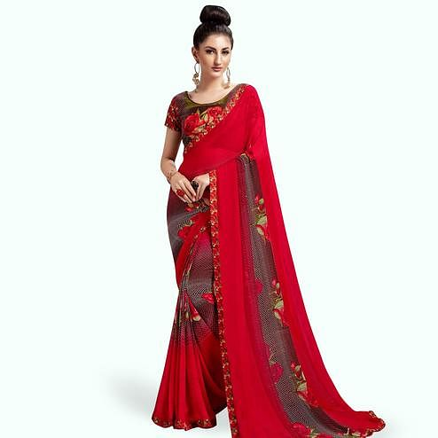 Exceptional Red Colored Casual Printed Georgette Saree