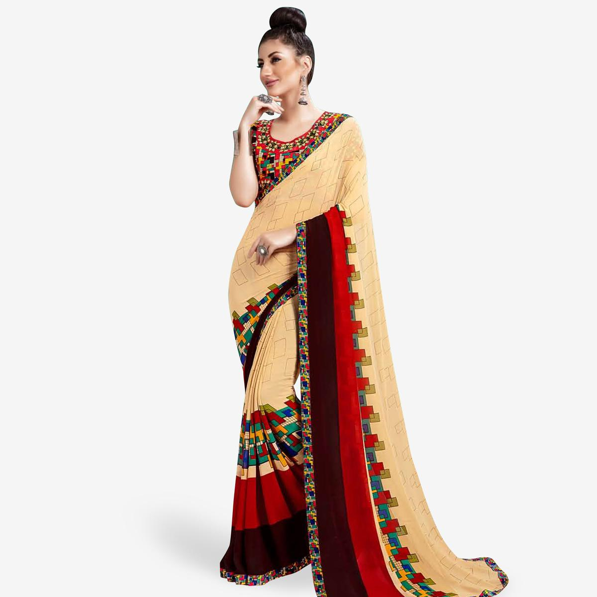 Gleaming Beige Colored Casual Printed Georgette Saree
