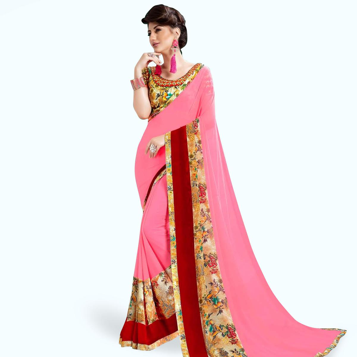 Mesmeric Pink Colored Casual Printed Georgette Saree