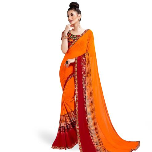 Refreshing Orange Colored Casual Printed Georgette Saree