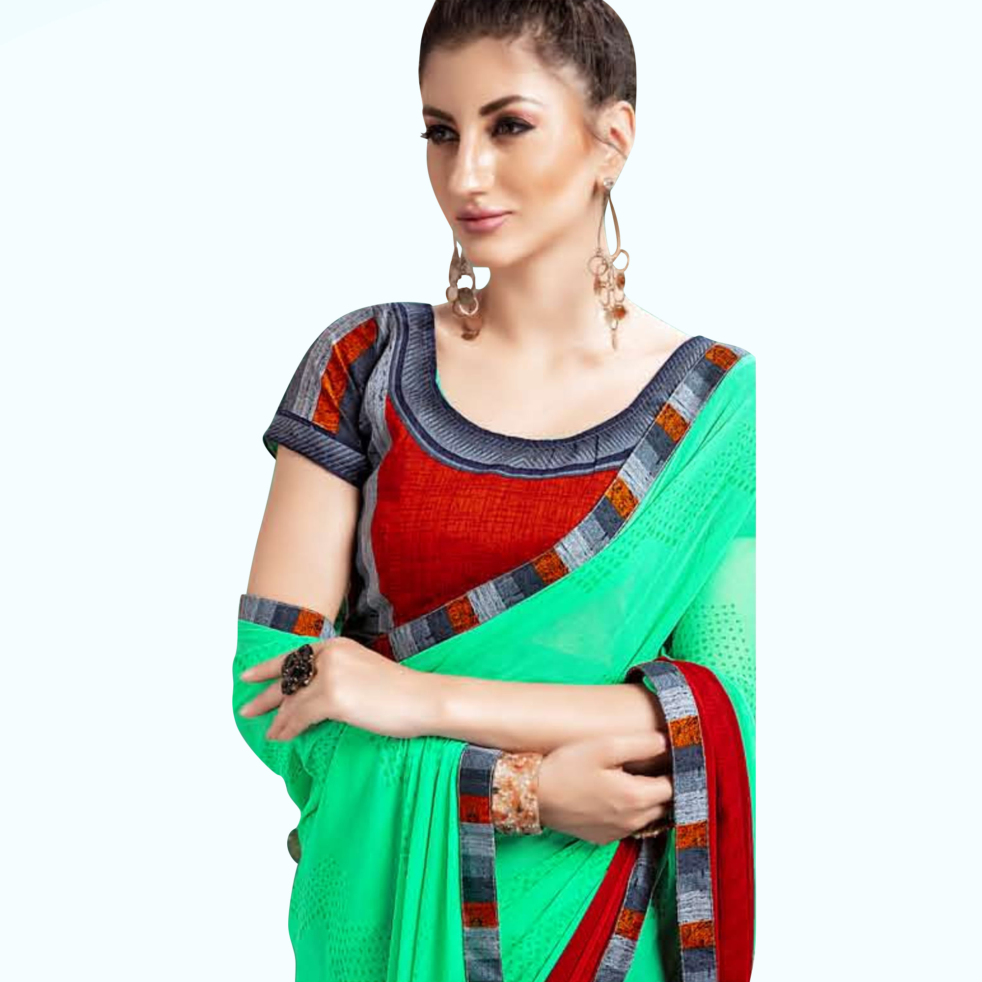 Magnetic Green Colored Casual Printed Georgette Saree