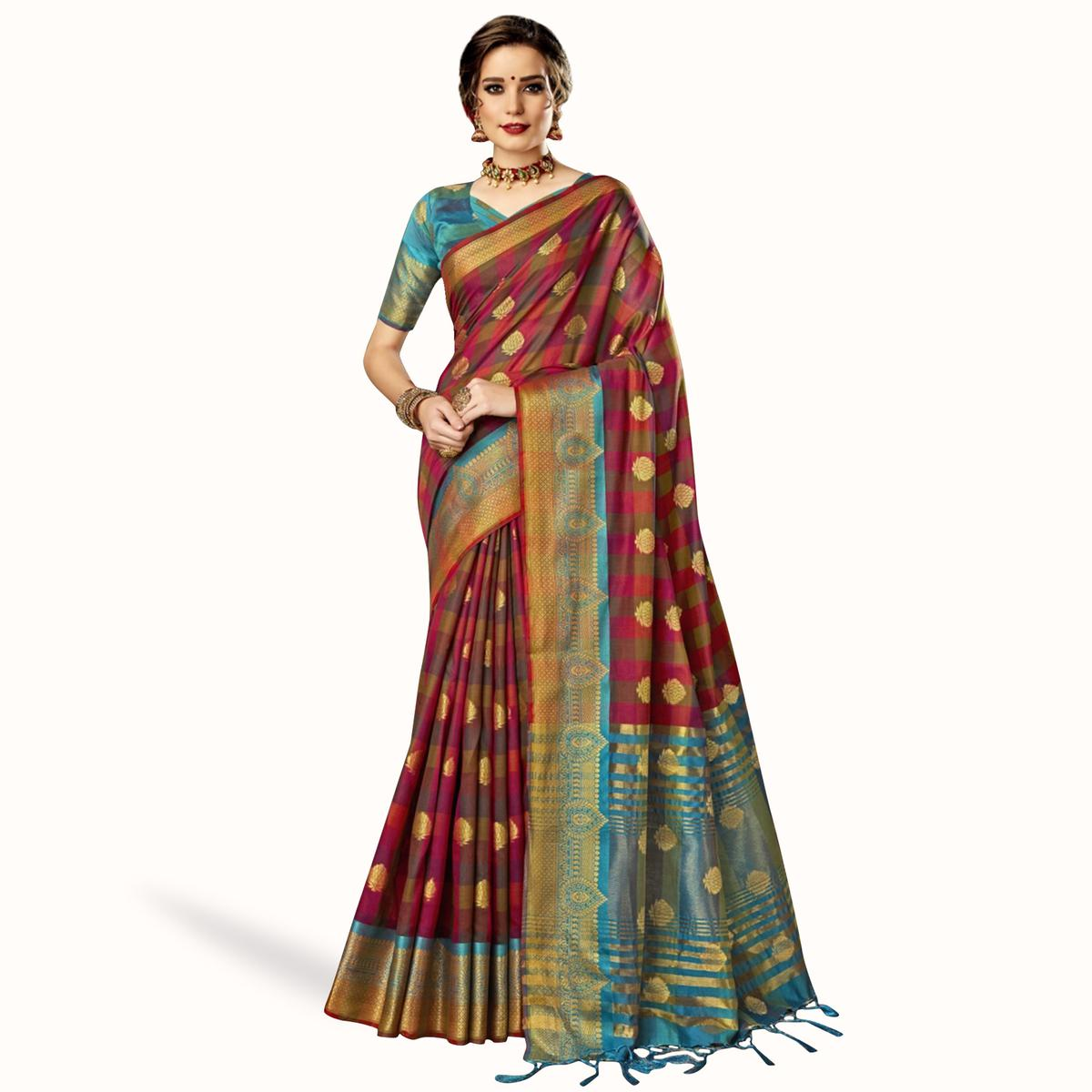 Magnetic Pink-Multi Colored Festive Wear Woven Art Silk Saree