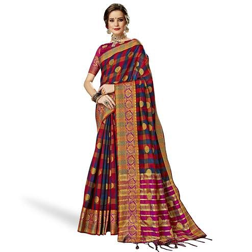 Flattering Blue-Multi Colored Festive Wear Woven Art Silk Saree