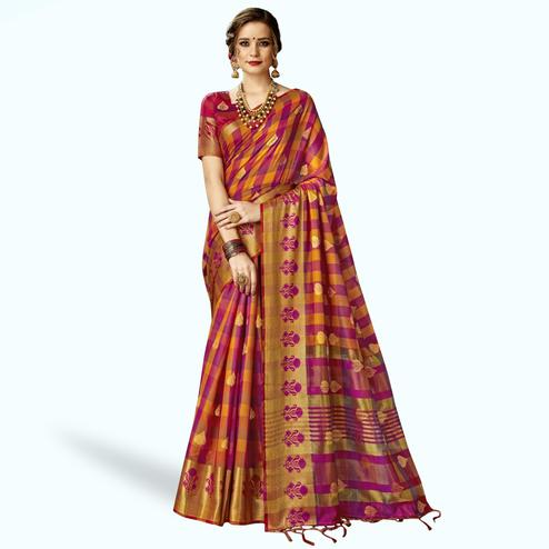 Excellent Pink-Multi Colored Festive Wear Woven Art Silk Saree