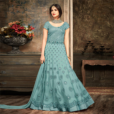 Classy Sky Blue Floral Embroidered Work Net Anarkali Suit