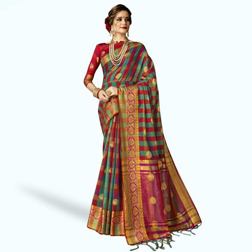 Flamboyant Aqua Blue-Multi Colored Festive Wear Woven Art Silk Saree