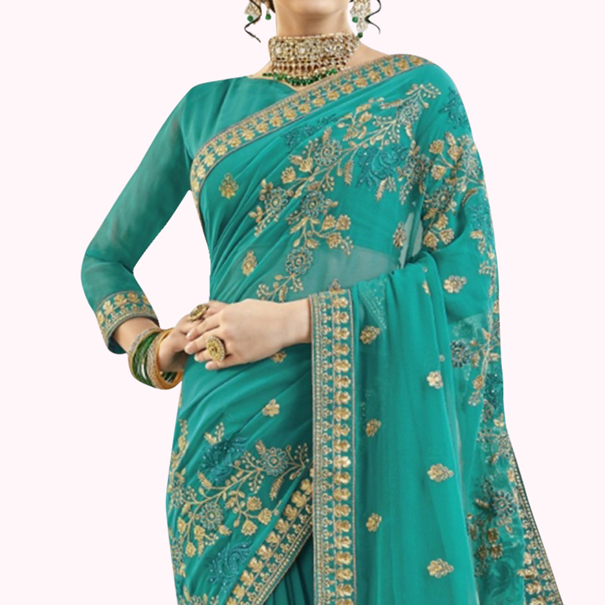 Fantastic Turquoise Green Colored Partywear Embroidered Georgette Saree