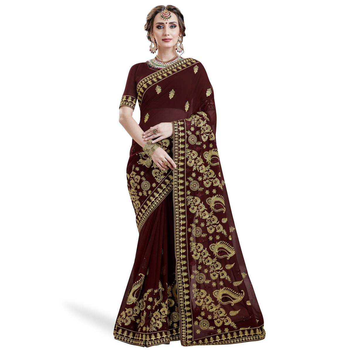 Gorgeous Dark Brown Colored Partywear Embroidered Georgette Saree