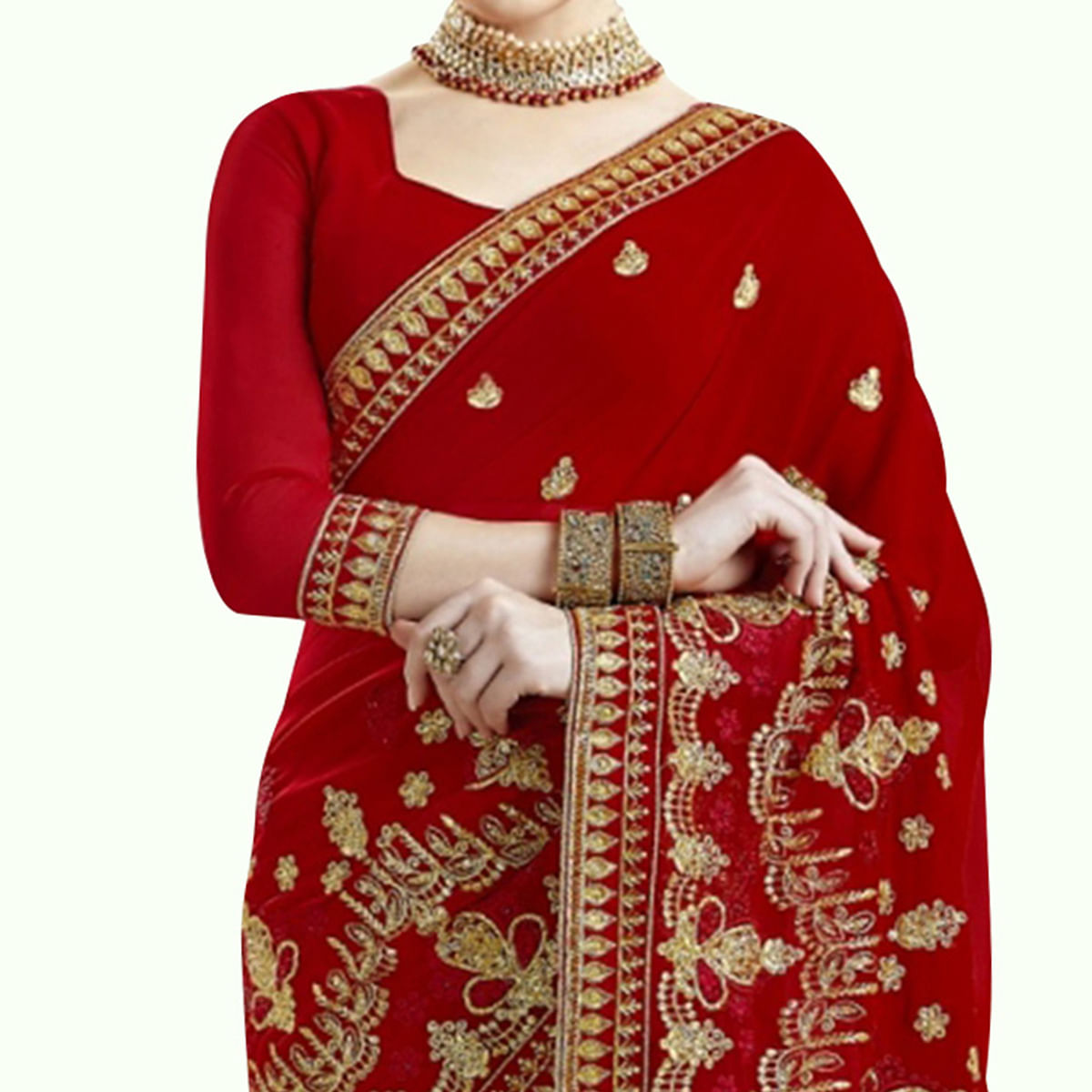 Imposing Red Colored Partywear Embroidered Georgette Saree