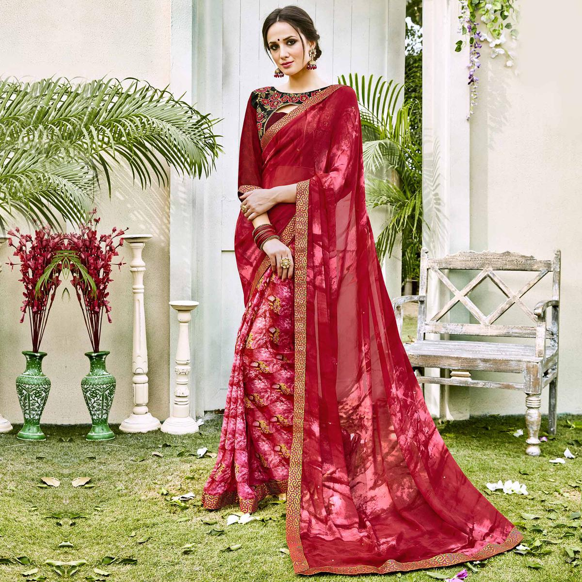 Red Designer Partywear Georgette Saree
