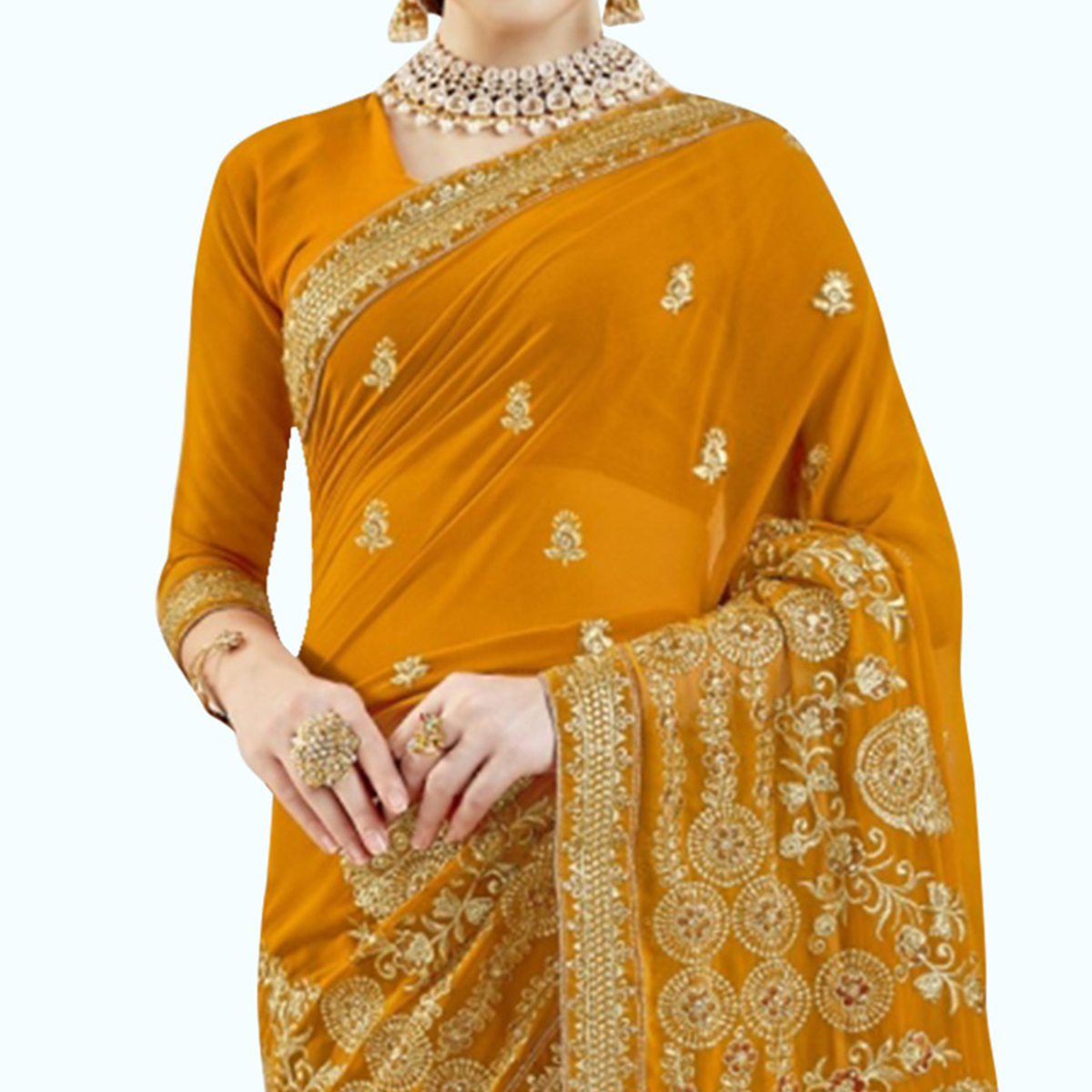 Lovely Yellow Colored Partywear Embroidered Georgette Saree