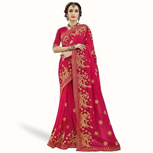 Majesty Pink Colored Partywear Embroidered Georgette Saree