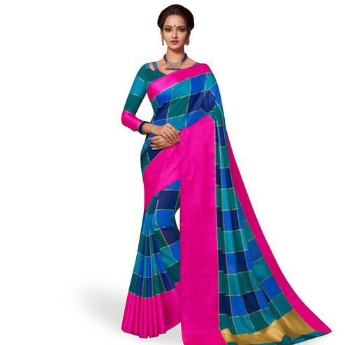 Energetic Blue Colored Festive Wear Art Silk Saree