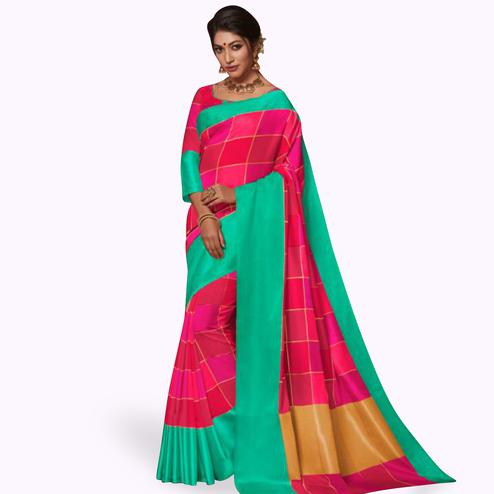 Glowing Deep Pink Colored Festive Wear Art Silk Saree