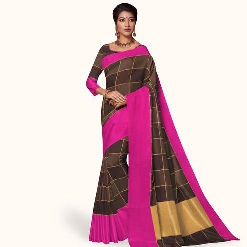Exceptional Brown Colored Festive Wear Art Silk Saree