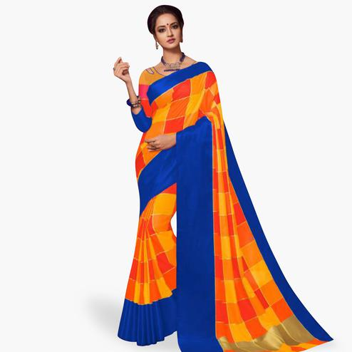 Mesmeric Orange Colored Festive Wear Art Silk Saree