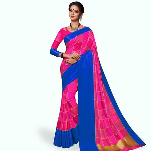Demanding Deep Pink Colored Festive Wear Art Silk Saree