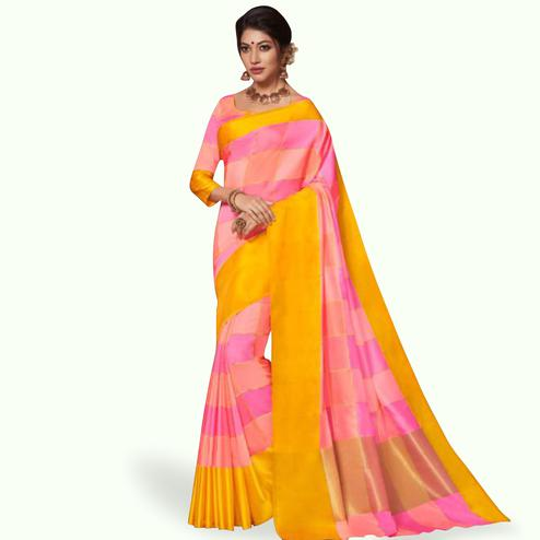 Magnetic Pink Colored Festive Wear Art Silk Saree