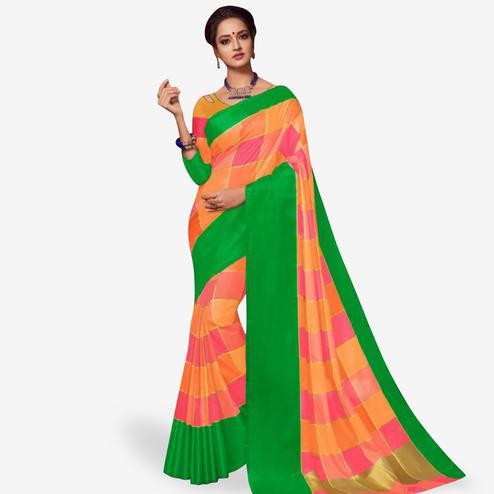 Hypnotic Orange Colored Festive Wear Art Silk Saree