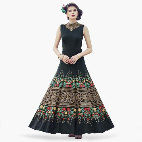 Hypnotic Black Colored Partywear Embroidered Banglori Silk Gown