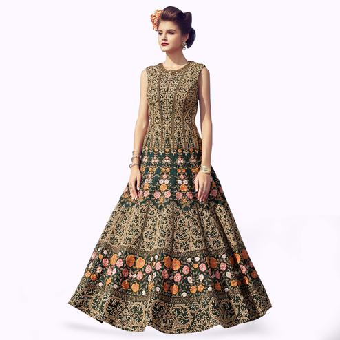 Flattering Green Colored Partywear Embroidered Banglori Silk Gown