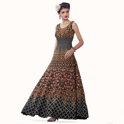 Excellent Navy Blue Colored Partywear Embroidered Banglori Silk Gown
