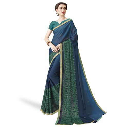 Fantastic Blue Colored Partywear Embroidered Chiffon Saree