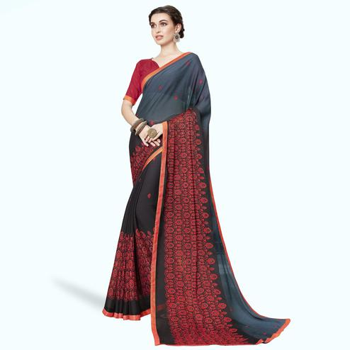 Gorgeous Gray Colored Partywear Embroidered Chiffon Saree