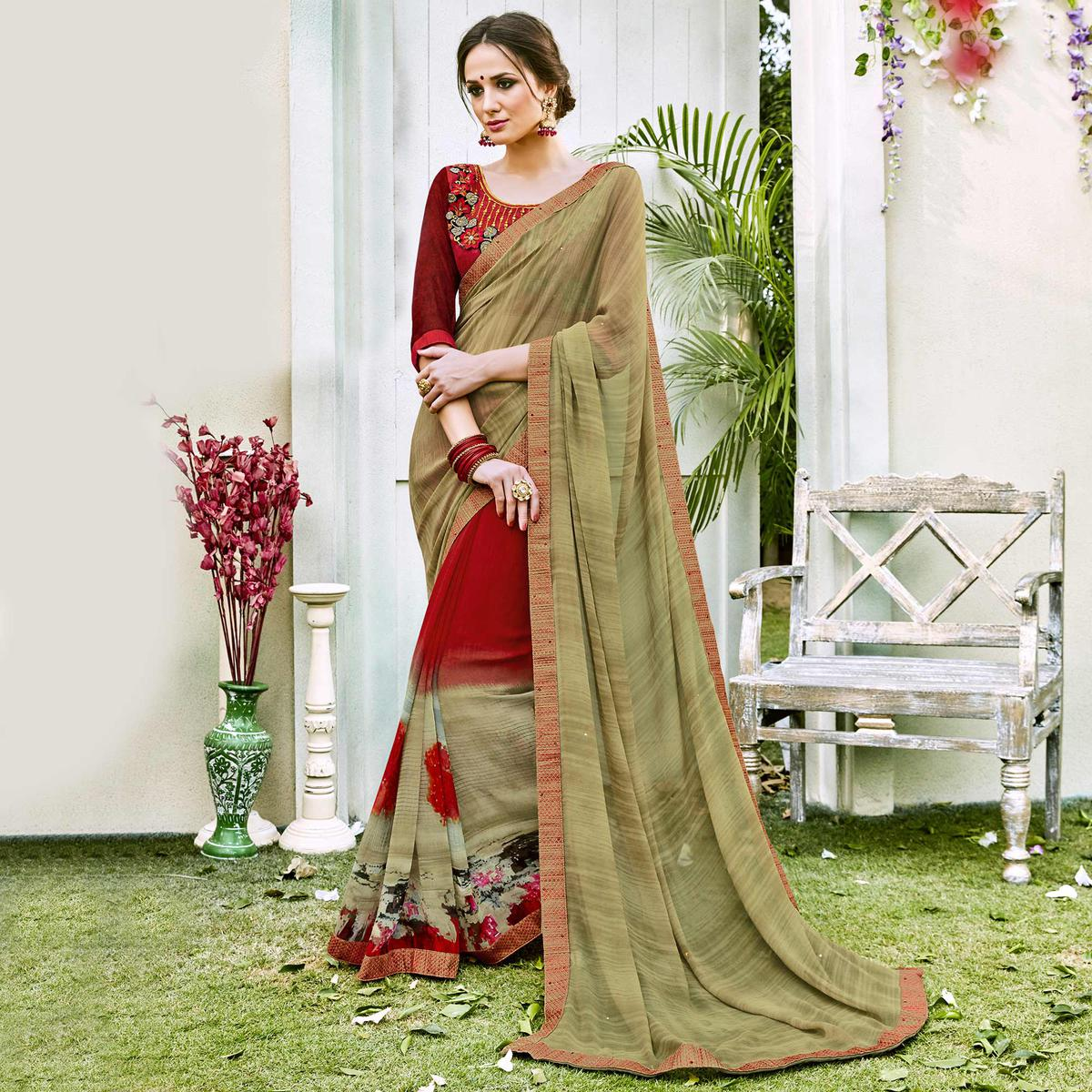 Olive Green-Red Designer Partywear Georgette Saree
