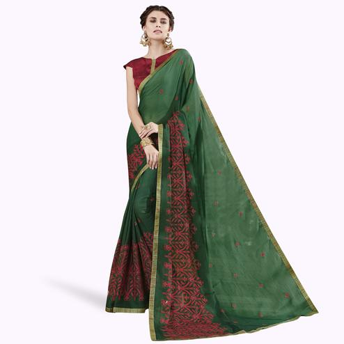 Unique Green Colored Partywear Embroidered Chiffon Saree