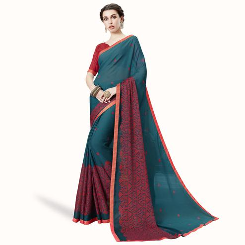 Demanding Rama Blue Colored Partywear Embroidered Chiffon Saree