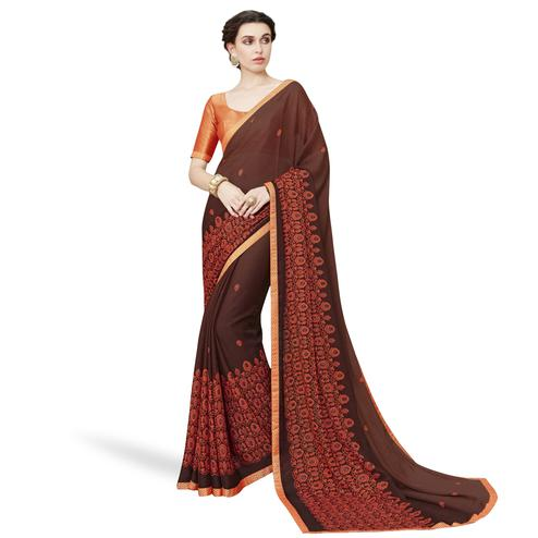 Refreshing Brown Colored Partywear Embroidered Chiffon Saree