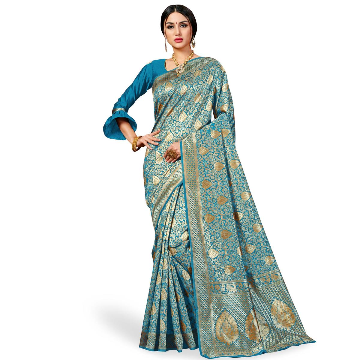 Radiant Firozi Colored Festive Wear Woven Banarasi Silk Saree