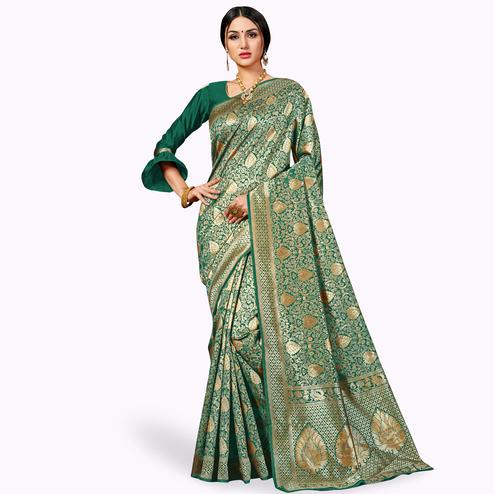 Pleasant Green Colored Festive Wear Woven Banarasi Silk Saree