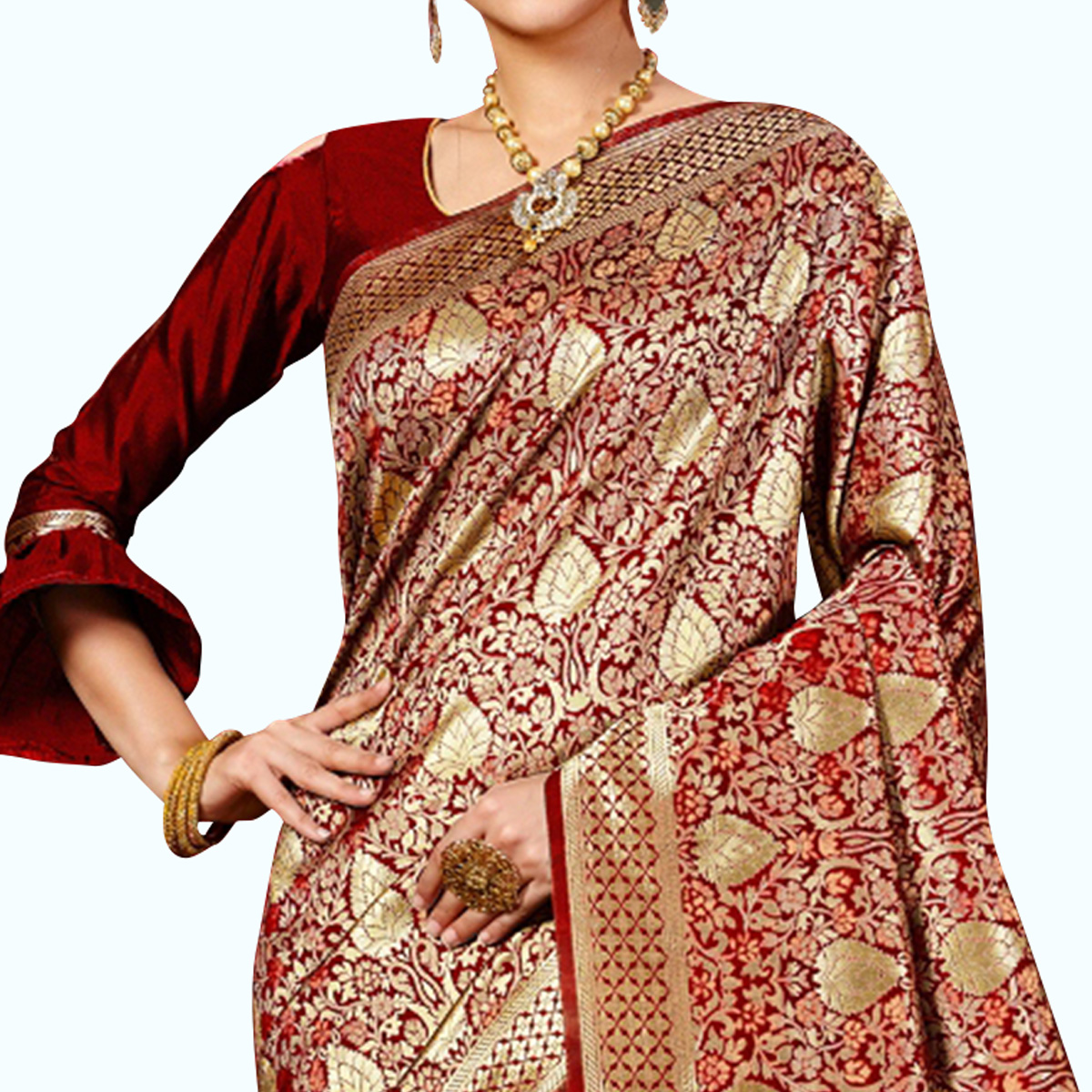 Opulent Maroon Colored Festive Wear Woven Banarasi Silk Saree