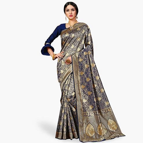 Energetic Navy Blue Colored Festive Wear Woven Banarasi Silk Saree