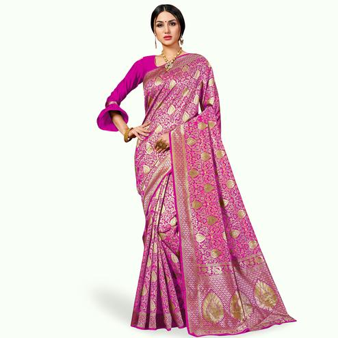 Glowing Pink Colored Festive Wear Woven Banarasi Silk Saree