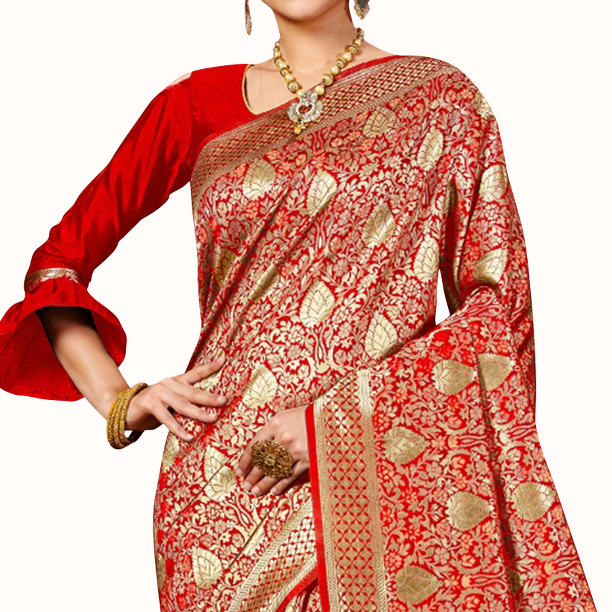 Exceptional Red Colored Festive Wear Woven Banarasi Silk Saree