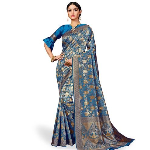 Gleaming Firozi Colored Festive Wear Woven Banarasi Silk Saree