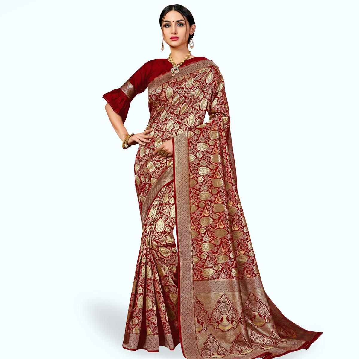 Mesmeric Maroon Colored Festive Wear Woven Banarasi Silk Saree