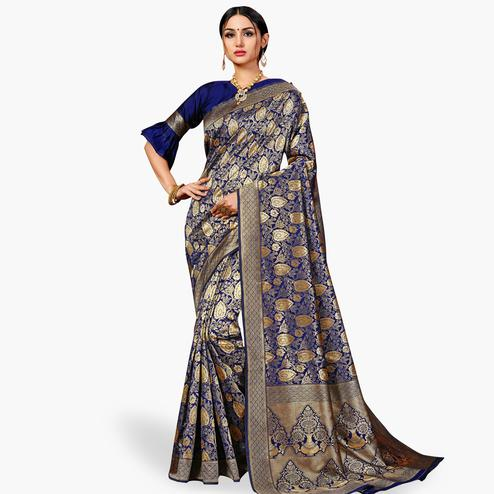 Unique Navy Blue Colored Festive Wear Woven Banarasi Silk Saree