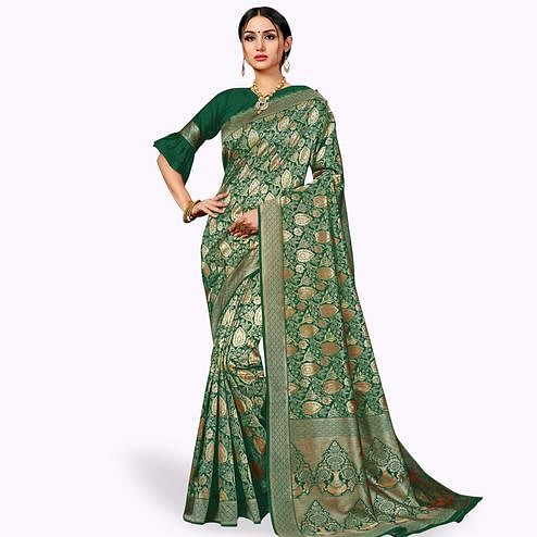 Demanding Green Colored Festive Wear Woven Banarasi Silk Saree