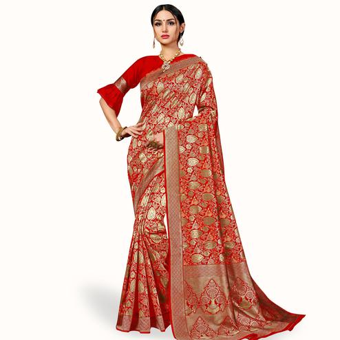 Magnetic Red Colored Festive Wear Woven Banarasi Silk Saree