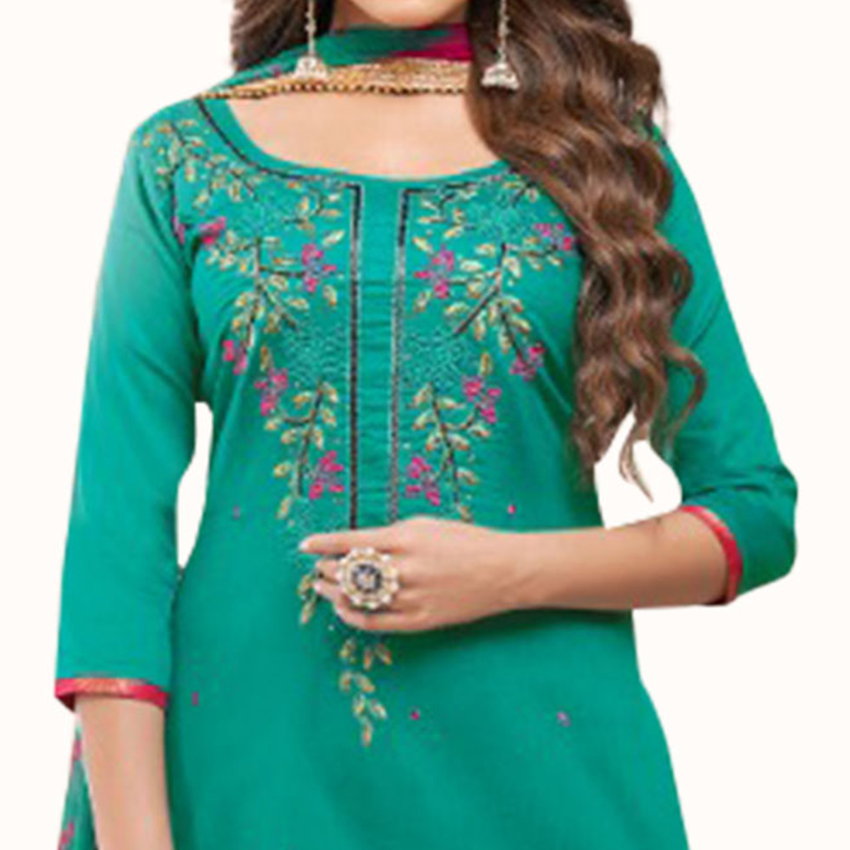 Exceptional Turquoise Green Colored Partywear Embroidered Cotton Patiala Suit
