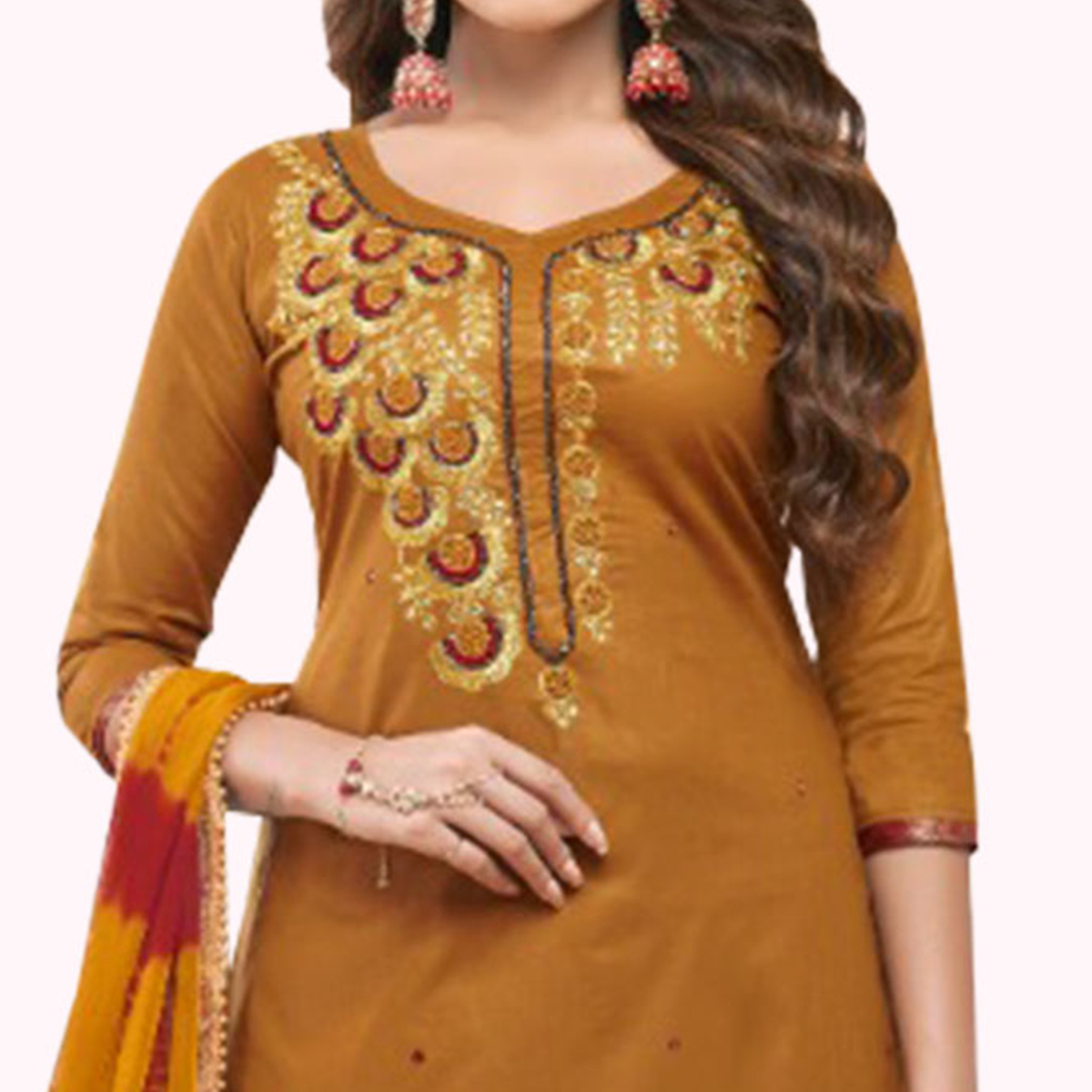 Eye-catching Dark Yellow Colored Partywear Embroidered Cotton Patiala Suit